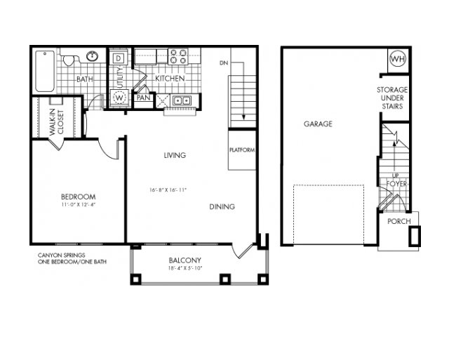 785 sq. ft. Canyon Springs floor plan