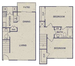 968 sq. ft. floor plan