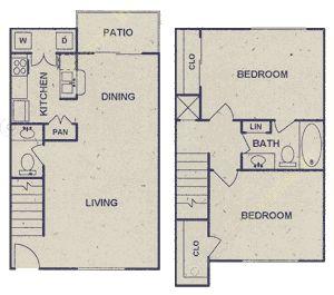 968 sq. ft. floor plan