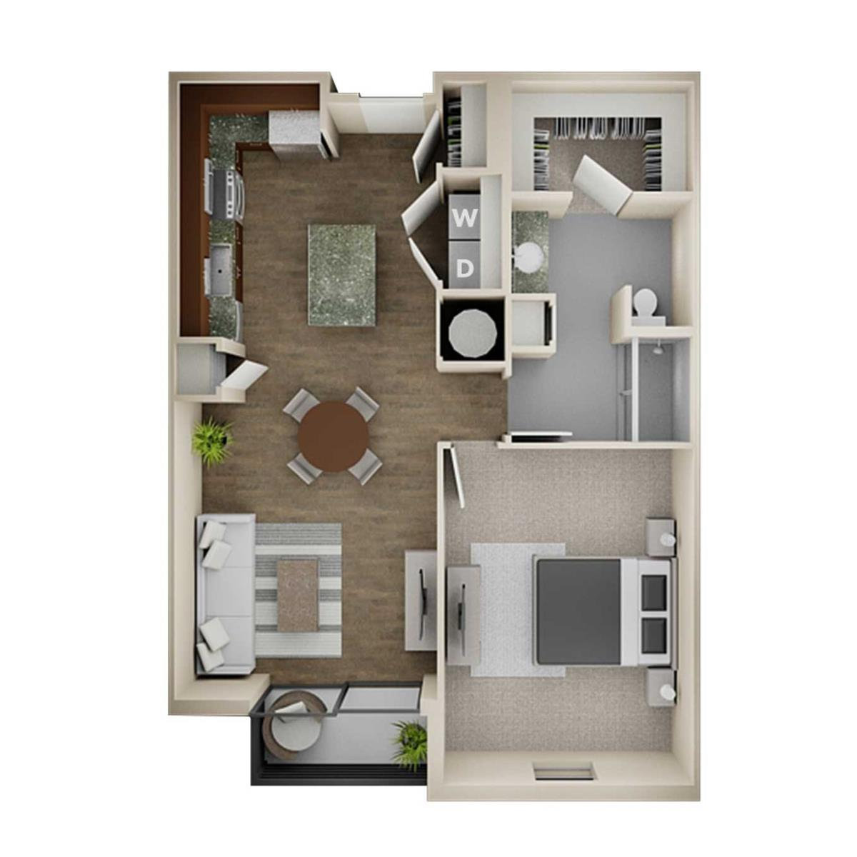 800 sq. ft. 1A Alt 2 floor plan