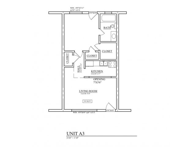 690 sq. ft. B3 floor plan