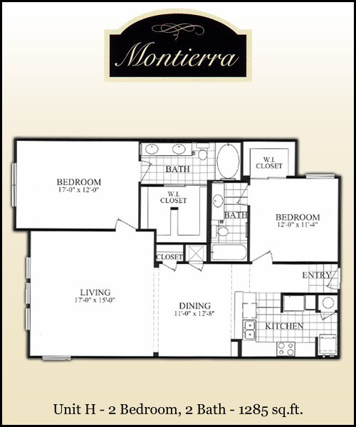1,285 sq. ft. H floor plan