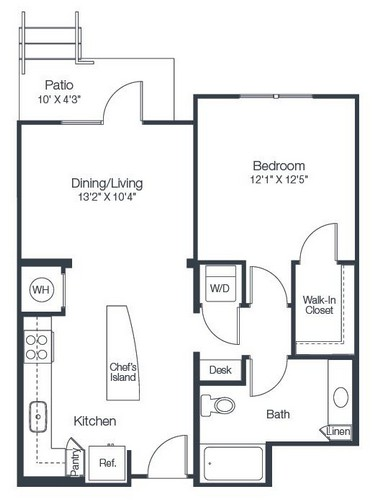 734 sq. ft. A2D floor plan