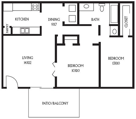 800 sq. ft. B2 floor plan