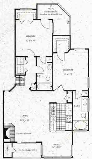 1,080 sq. ft. B2 floor plan