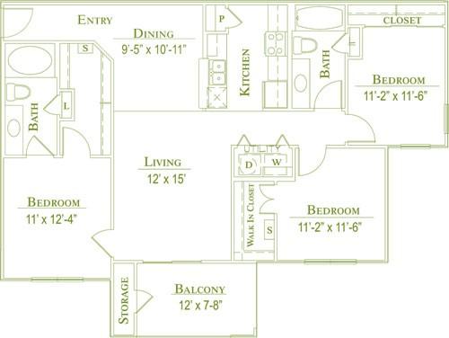 1,183 sq. ft. 60% floor plan