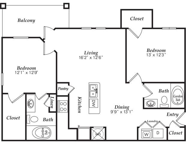 1,107 sq. ft. B1 floor plan