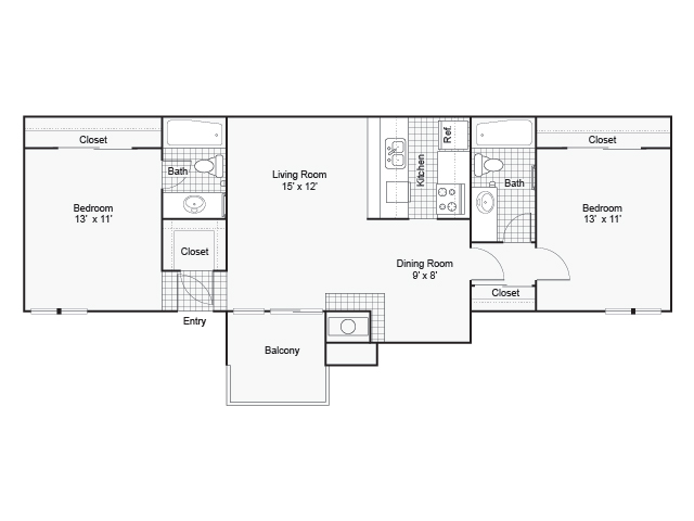 910 sq. ft. I B-1 floor plan