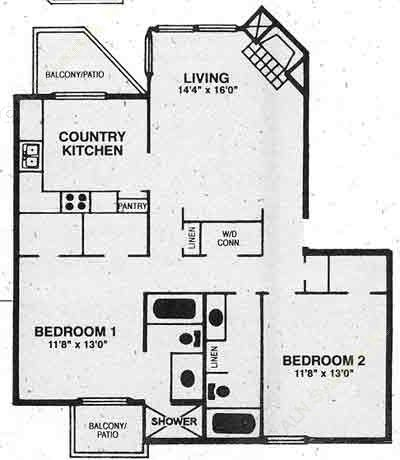 1,030 sq. ft. B-1 floor plan