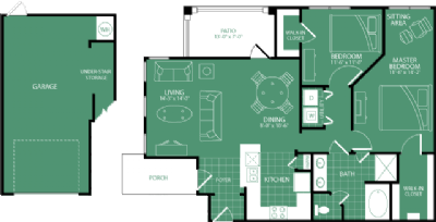 1,088 sq. ft. Interlachen floor plan