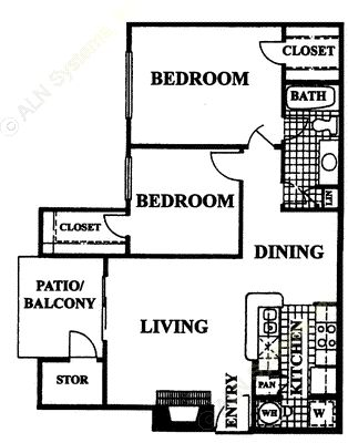 819 sq. ft. Barcelona floor plan
