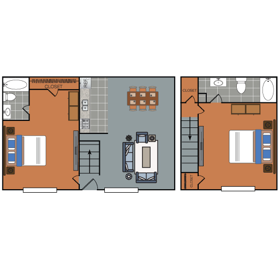 1,194 sq. ft. B3 floor plan