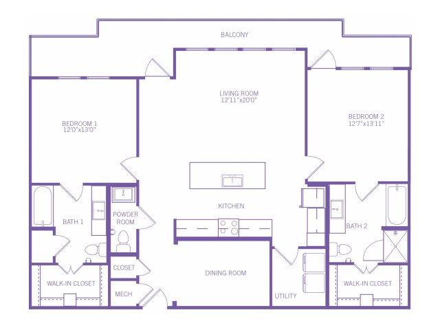 1,387 sq. ft. B8 ALT floor plan