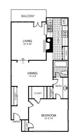 815 sq. ft. San Francisco floor plan
