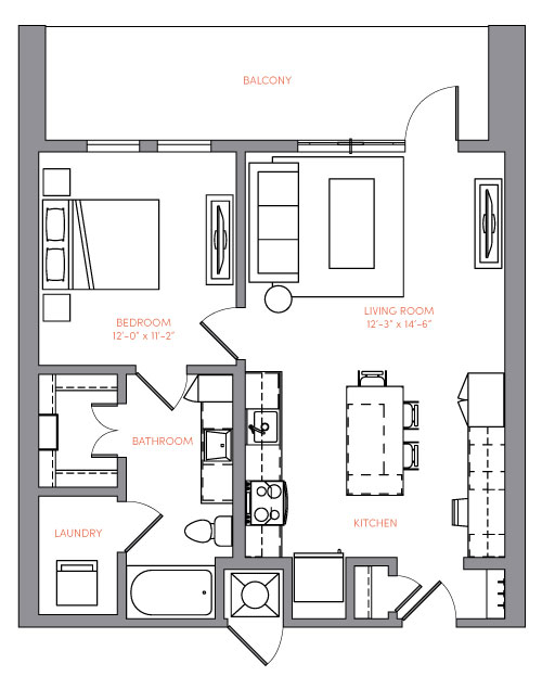 732 sq. ft. A1A.3 floor plan