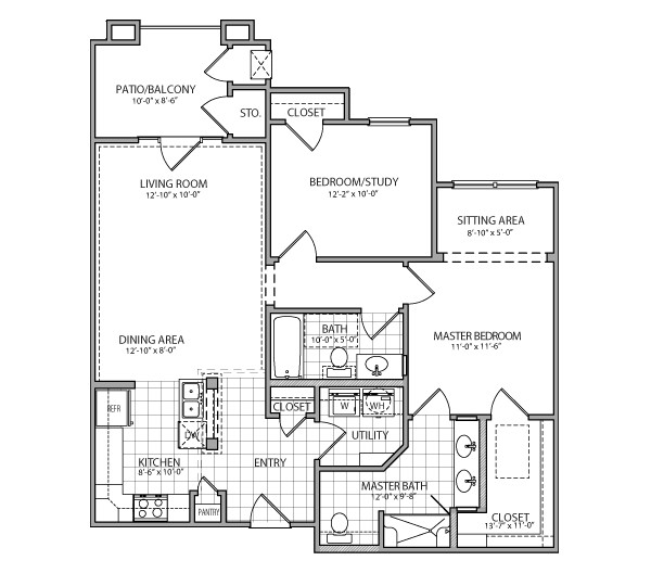 1,076 sq. ft. Sorrento Indep. floor plan