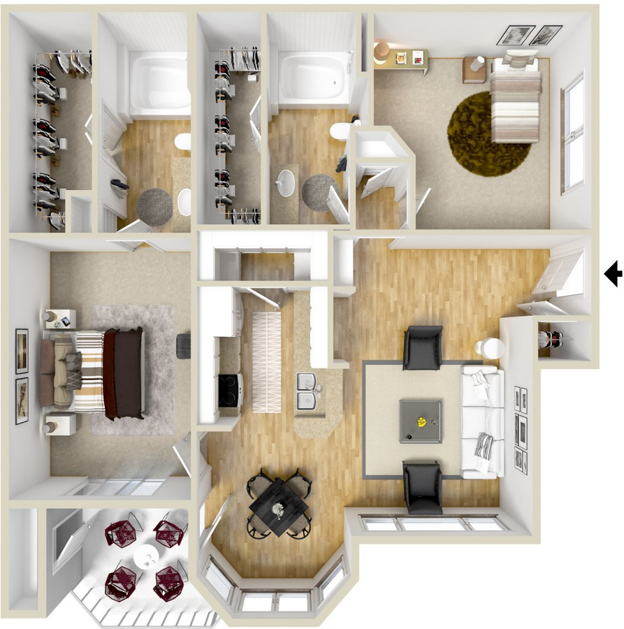 968 sq. ft. Sevilla floor plan