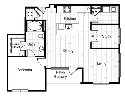 916 sq. ft. A9 floor plan