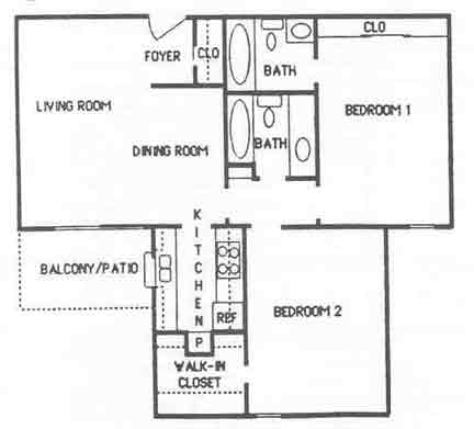 897 sq. ft. B3 floor plan