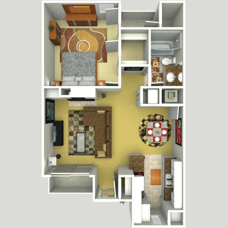 664 sq. ft. C floor plan
