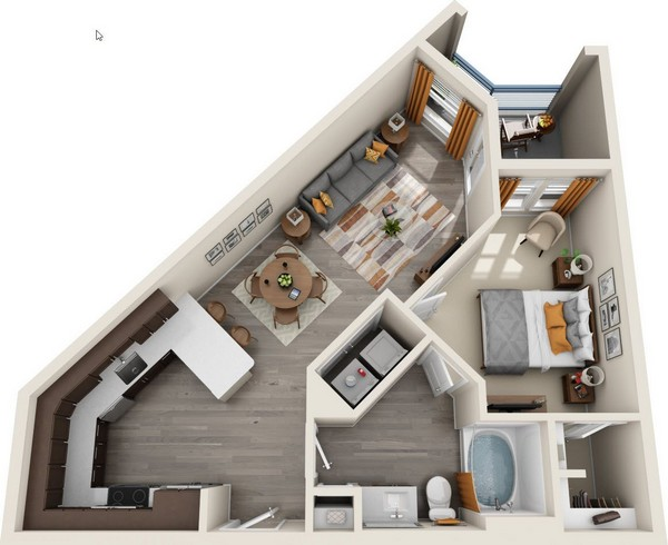 824 sq. ft. A2.1 floor plan