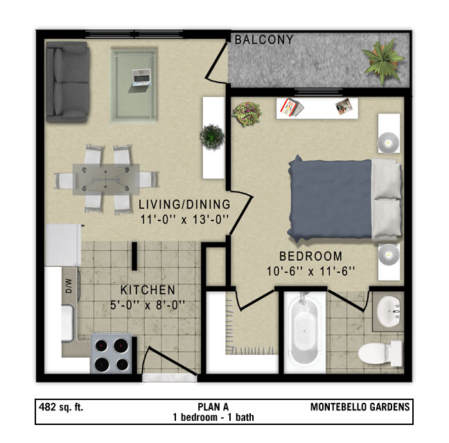 482 sq. ft. Milano floor plan
