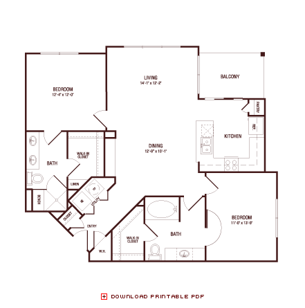 1,174 sq. ft. Spanish Oak floor plan