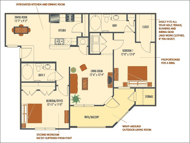 1,156 sq. ft. Monaco floor plan