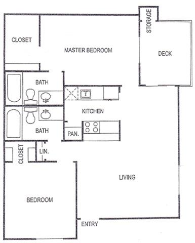 896 sq. ft. E floor plan