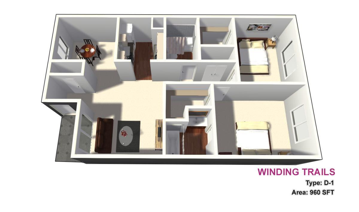 960 sq. ft. D1 floor plan