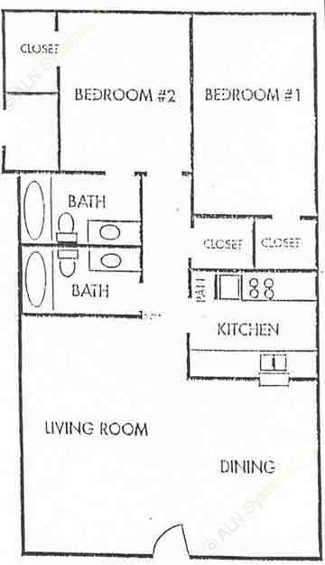 875 sq. ft. B3 floor plan