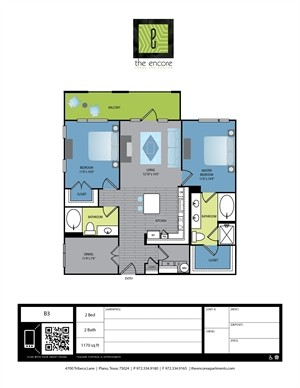1,170 sq. ft. B2 floor plan