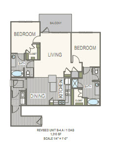 1,310 sq. ft. 2G floor plan