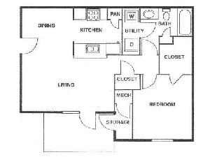 656 sq. ft. A/60% floor plan
