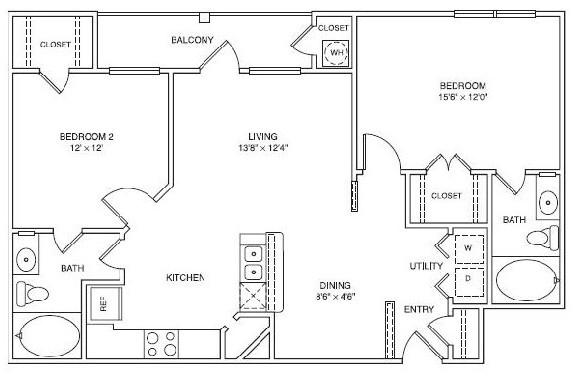 974 sq. ft. LB2 floor plan