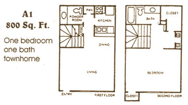 858 sq. ft. A2 floor plan