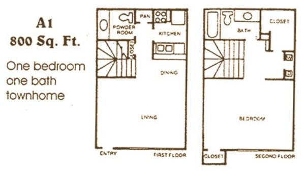 858 sq. ft. A2 floor plan