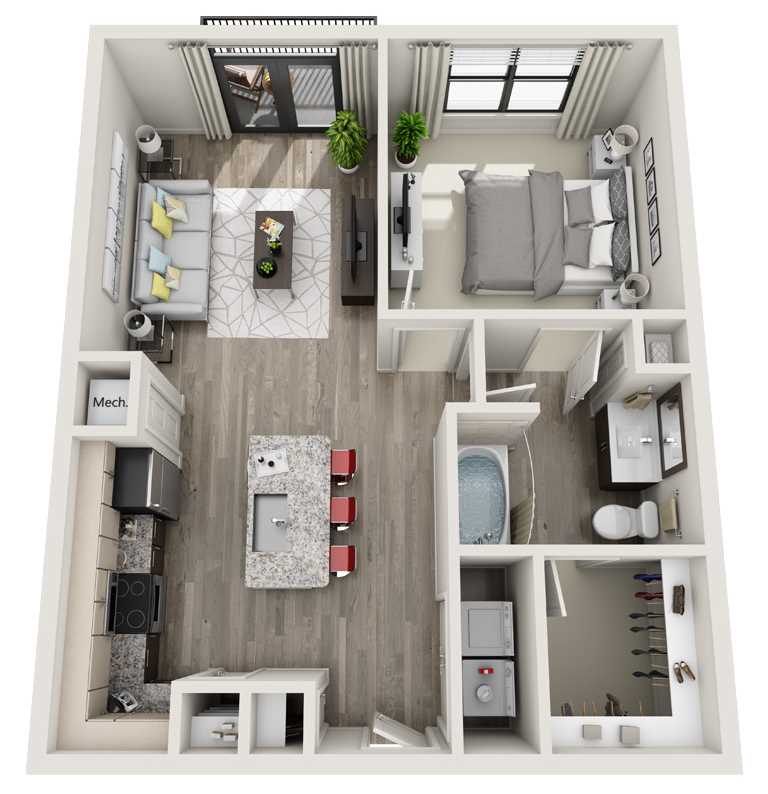 728 sq. ft. to 776 sq. ft. A2 floor plan