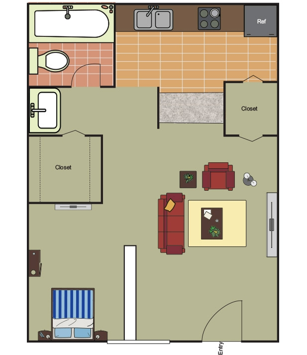 456 sq. ft. EFF floor plan