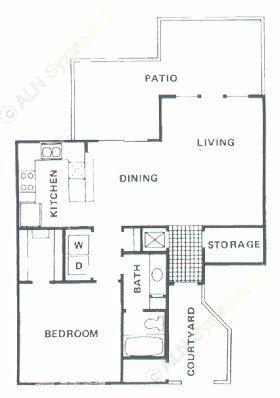 819 sq. ft. A3 floor plan