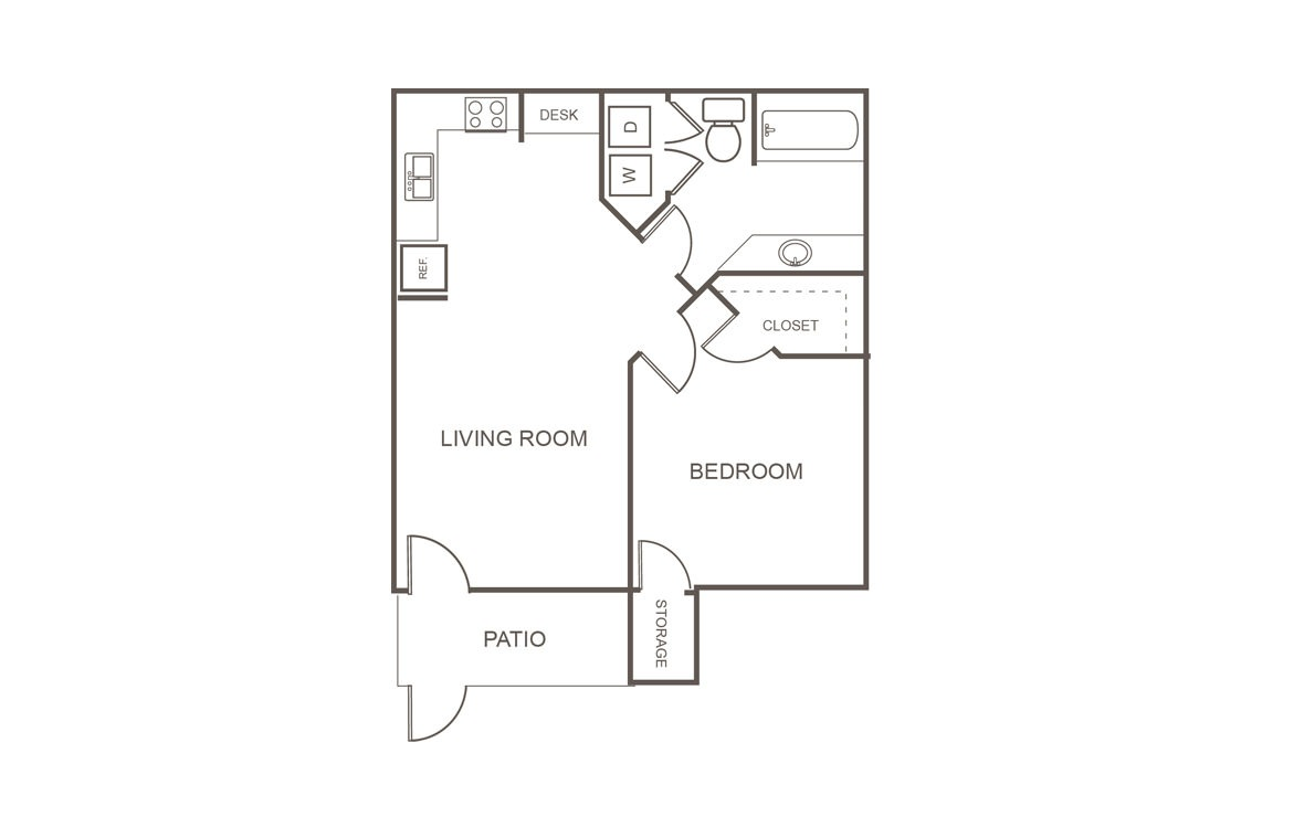 665 sq. ft. Mkt floor plan
