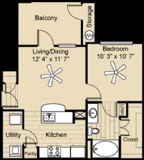 583 sq. ft. Bandera floor plan
