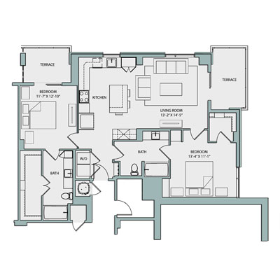 1,157 sq. ft. B2A floor plan