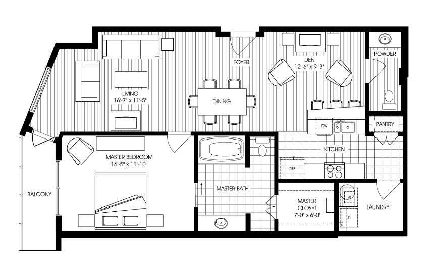 1,125 sq. ft. A8 floor plan