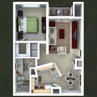 779 sq. ft. Clove floor plan