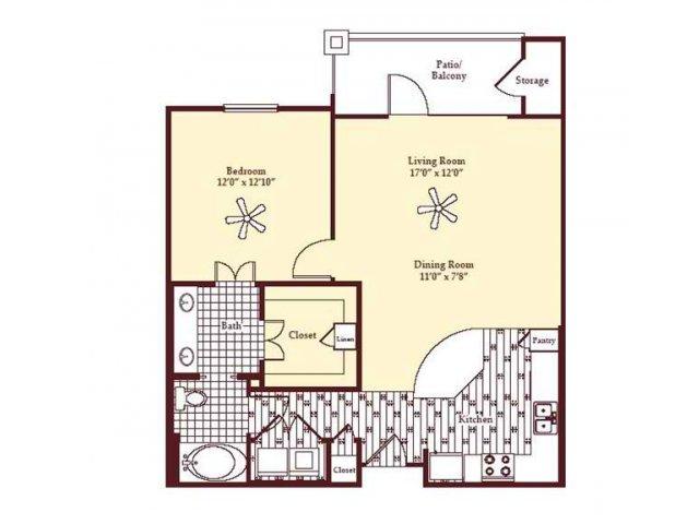 847 sq. ft. A3 floor plan