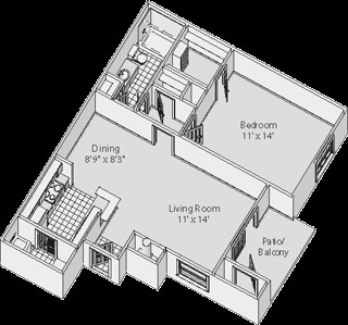 672 sq. ft. B floor plan