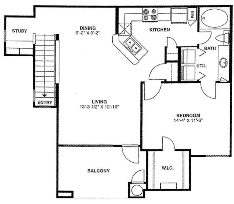 762 sq. ft. B2/60% floor plan