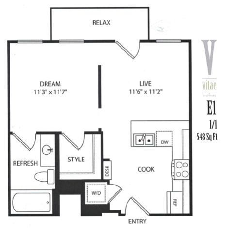 548 sq. ft. floor plan