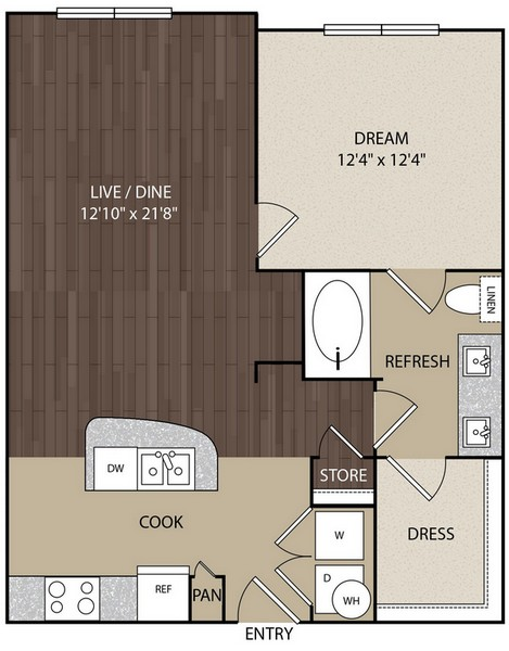 772 sq. ft. A3 floor plan